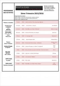 Planning 2ème trimestre 2015-2016